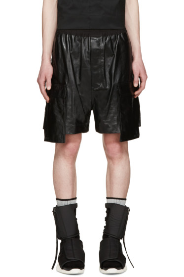 Rick Owens - Black Leather Cargo Shorts