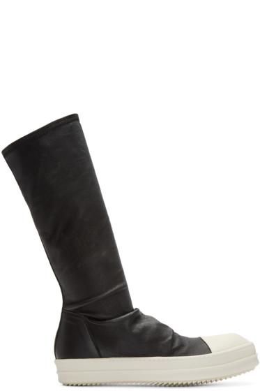 Rick Owens - Black Leather Sock High-Top Sneakers