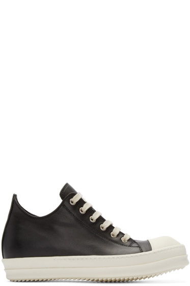 Rick Owens - Black Leather Low-Top Sneakers