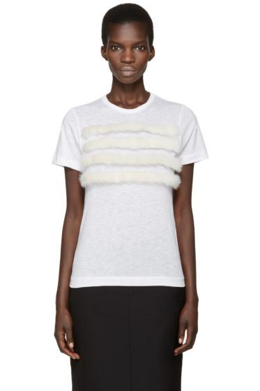 Comme des Garçons - White Faux-Fur Trim T-Shirt