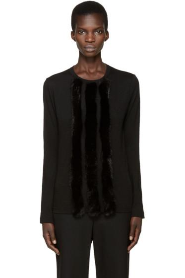Comme des Garçons - Black Faux-Fur Trim T-Shirt