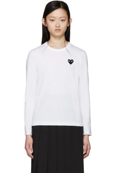 Comme des Garçons Play - White Long Sleeve Heart Patch T-Shirt