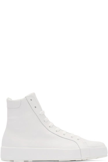 Jil Sander - White Leather High-Top Sneakers