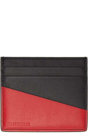Jil Sander - Black & Red Leather Card Holder