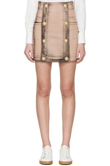 Balmain - Pink Faded Denim Skirt