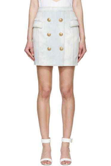 Balmain - Blue Denim Button Skirt