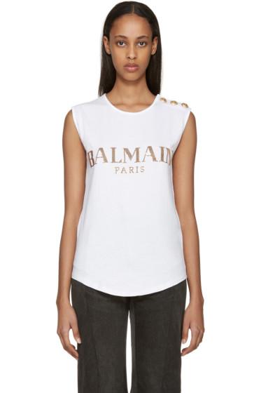 Balmain - White Sequin Logo T-Shirt