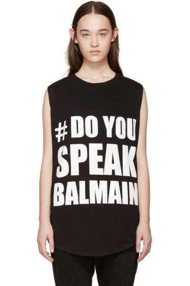 Balmain - Black 'Do You Speak Balmain' T-Shirt