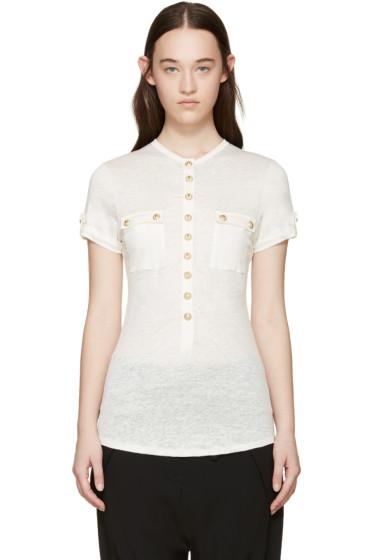 Balmain - Cream Linen Button T-Shirt
