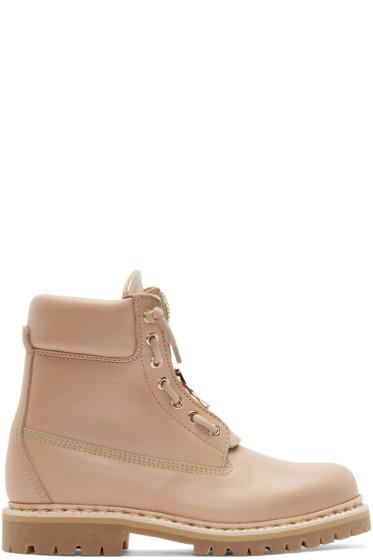 Balmain - Pink Leather Taiga Ranger Boots