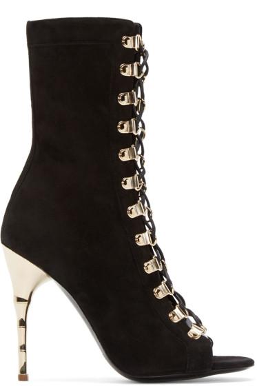 Balmain - Black Suede Ava Boots