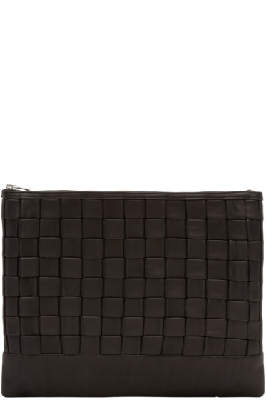 Balmain - Black Leather Braided Document Holder