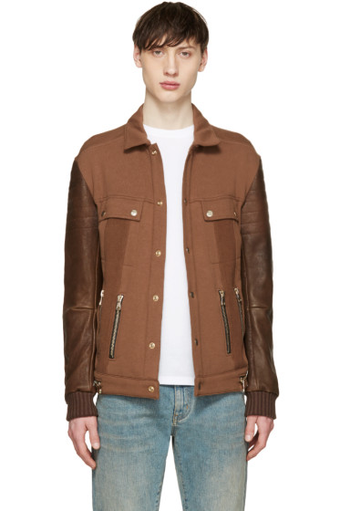Balmain - Tan Leather Sleeve Jacket