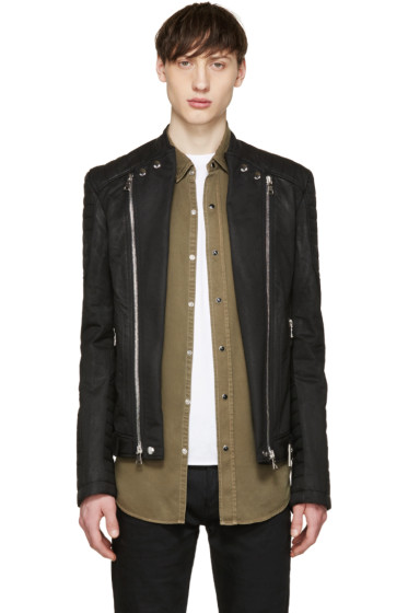 Balmain - Black Waxed Canvas Biker Jacket