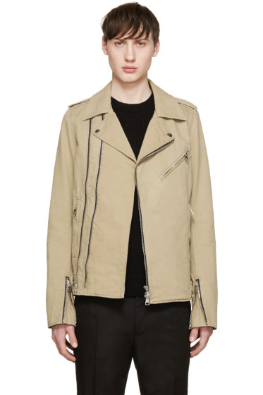 Balmain - Beige Cotton Biker Jacket