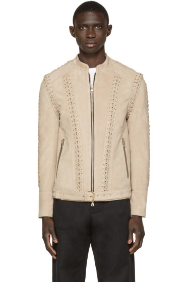 Balmain - Beige Lace-Up Leather Jacket