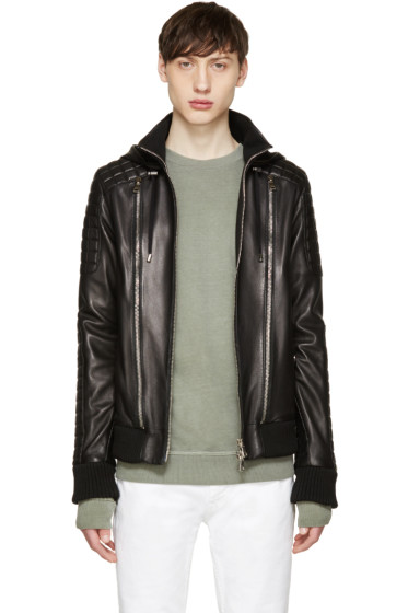 Balmain - Black Hooded Leather Jacket