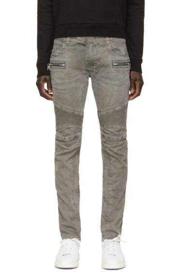 Balmain - Grey Zip Biker Jeans