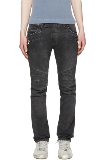 Balmain - Grey Distressed Biker Jeans