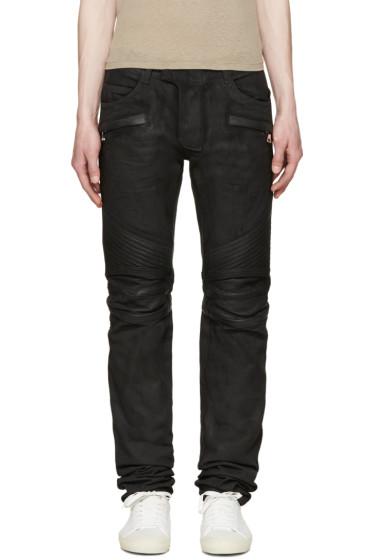Balmain - Black Coated Biker Jeans