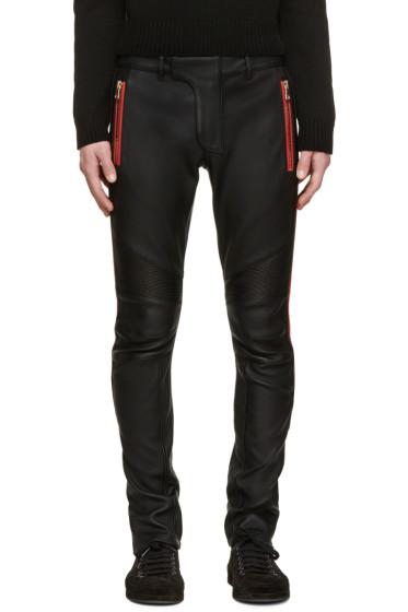 Balmain - Black Leather Trousers