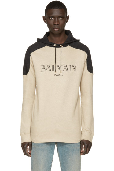 Balmain - Beige Logo Hoodie