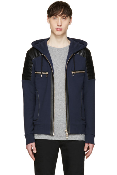 Balmain - Navy Leather Panel Hoodie
