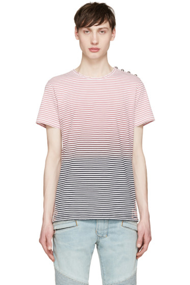 Balmain - Tricolor Striped Degrade T-Shirt
