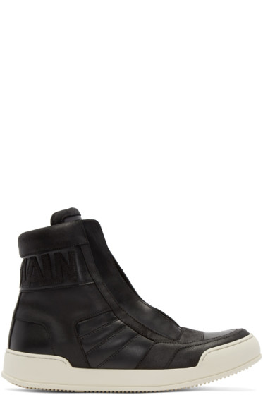 Balmain - Black Leather Logo High-Top Sneakers