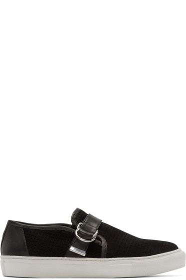 Balmain - Black Perforated Suede Sneakers