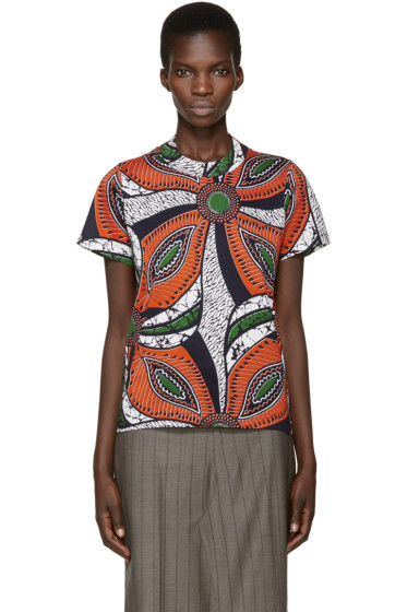 Junya Watanabe - Orange & Navy Patterned T-Shirt