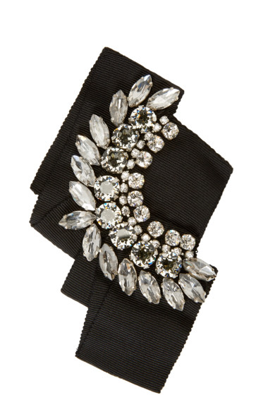 Lanvin - Black Crystal & Grosgrain Brooch
