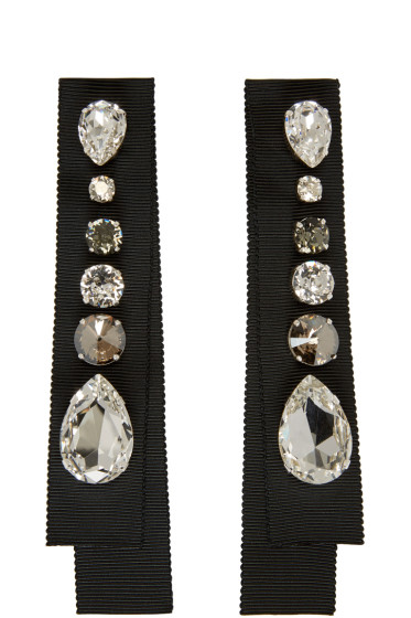 Lanvin - Black Crystal & Grosgrain Earrings