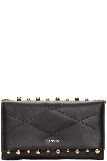 Lanvin - Black Leather Sugar Pearls Clutch