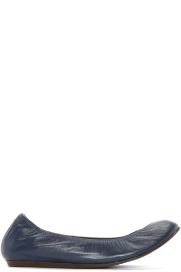 Lanvin - Navy Leather Ballerina Flats