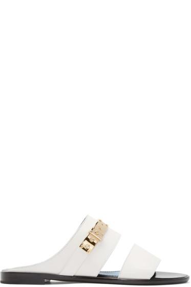 Lanvin - White Leather Mule Sandals