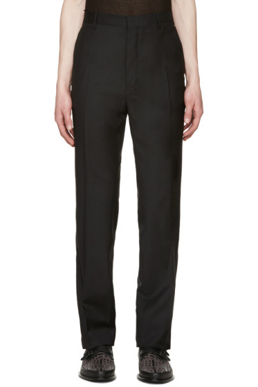Lanvin - Black Wool Topstitched Trousers