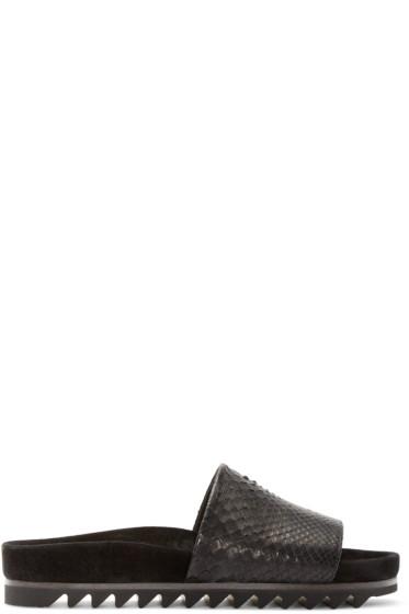 Lanvin - Black Python Slide Sandals
