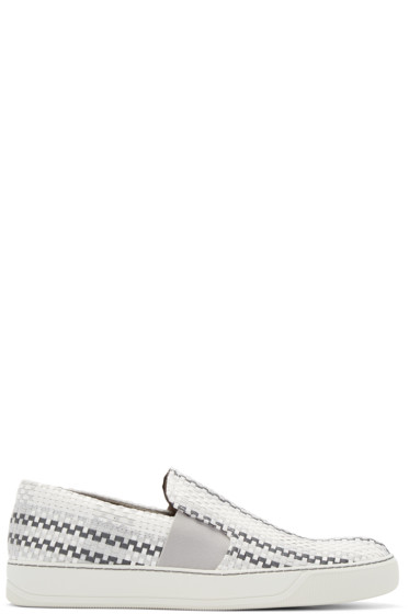 Lanvin - Grey & White Woven Slip-On Sneakers