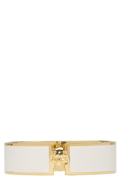 Alexander McQueen - White & Gold Skull Bracelet