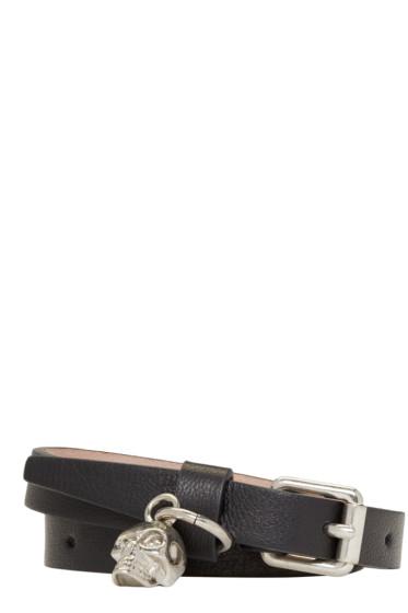 Alexander McQueen - Black Leather Double-Wrap Bracelet