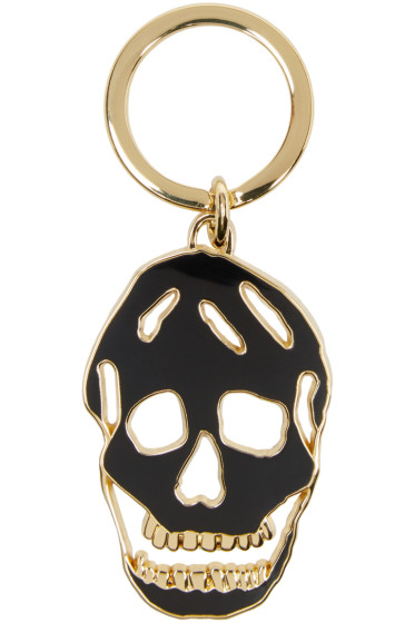 Alexander McQueen - Black & Gold Cut-Out Skull Keychain