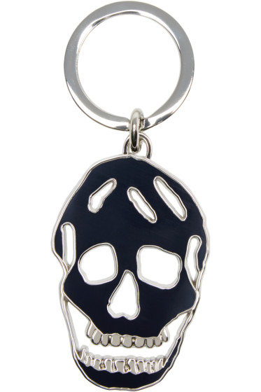 Alexander McQueen - Navy & Silver Cut-Out Skull Keychain