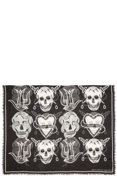 Alexander McQueen - Black Oversized Tattoo Scarf