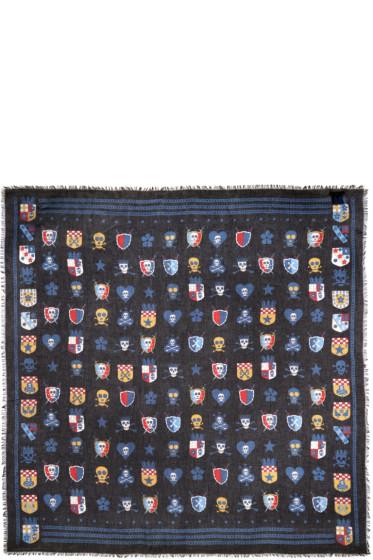Alexander McQueen - Black Silk Heraldic Scarf