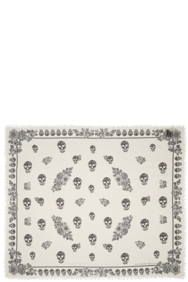 Alexander McQueen - Ivory Floral Skull Scarf
