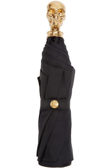 Alexander McQueen - Black & Gold Skull Compact Umbrella