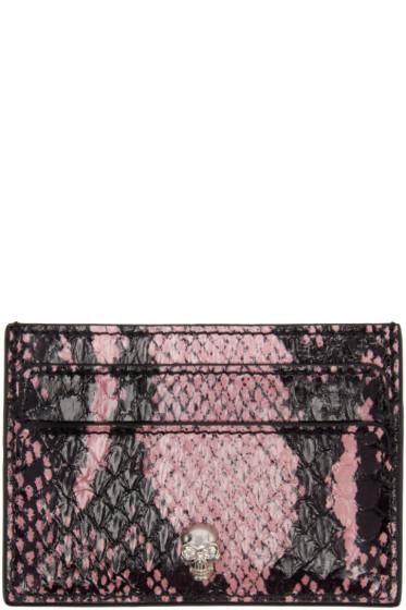 Alexander McQueen - Black & Pink Snakeskin Card Holder