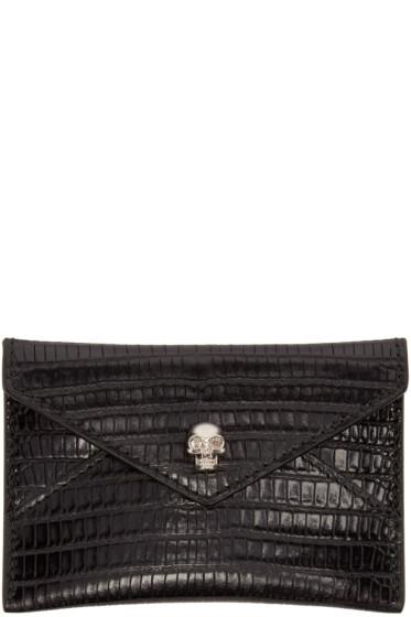 Alexander McQueen - Black Reptile-Embossed Card Holder