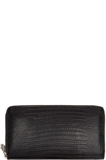 Alexander McQueen - Black Lizard-Embossed Continental Wallet